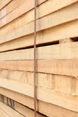 Lumber stack focus at bondage wire. — Stock Photo