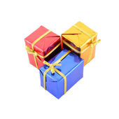 Group multiple color gift box isolated on white background. — Stock Photo