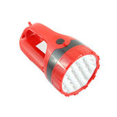 Red plastic pocket flashlight on white background. — Stock Photo