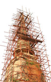 Old pagoda renovation with construction scaffold frame. — Stock Photo