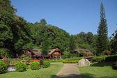 Northern Thai style house resort in garden. — Stock Photo