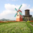 Dutch windmill and water tank on little flower garden. — Stock Photo