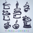 Royalty-Free Stock Vectorielle: Cakes, sweets and drinks silhouettes