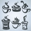 Vector collection of cakes and sweet drinks — Vector de stock