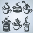 Vector collection of cakes and sweet drinks — Image vectorielle