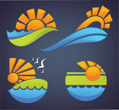 Symbols of sea, sun and summer — Stock Vector