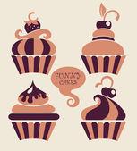 Eğlenceli çizgi film cupcakes koleksiyonu — Stok Vektör
