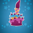 Image of birthday cake, candle and place for your text, eps 10 — Векторная иллюстрация