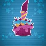 Obrázek narozeninový dort, svíčka a místo pro váš text, eps 10 — Stock vektor