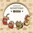 Funny american menu in cartoon style — Stock Vector