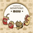 Funny american menu in cartoon style — Stock Vector