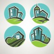 Little village, building and landscape symbols — Stock Vector