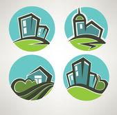 Little village, building and landscape symbols — Stock Vector