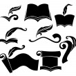 Royalty-Free Stock Vector Image: Old books, parchment, reading and writing symbols