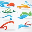 Постер, плакат: Rent a car or take a taxi vector collection of icons an symbols