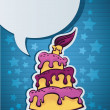 Birthday cake, candle and speech bubble eps 10 — Stock Vector