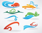 Rent a car or take a taxi, vector collection of icons an symbols — Stock Vector