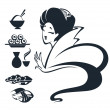 Vector image of Japanese girl with traditional food - Stock Vector