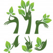 Green hands, vector collection of eco and beauty symbols — 图库矢量图片