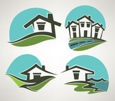 Little home in small town, vector collection of emblems — Stock Vector