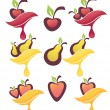Vector collection of fresh fruits and berries, juice stickers an — Stock Vector