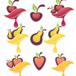 Vector collection of fresh fruits and berries, juice stickers an — Stock Vector #19813631