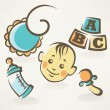 Royalty-Free Stock Vector Image: It\'s a boy, baby shower design icons