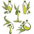 Stock Vector: Green olive and oil , vector collection of stylized signs, symbo