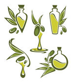 Green olive and oil , vector collection of stylized signs, symbo — Stock Vector