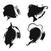 Vector collection of women head silhouettes and hairdresser equi — Stock Vector