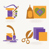 Hand made and craft, vector collection of symbols and icons — Stock Vector