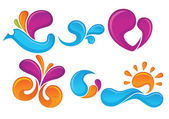 Beautiful seasons: spring and summer vector collection, — Cтоковый вектор