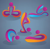 Yoga practice, look like a ribbons, vector collection of — Stock Vector
