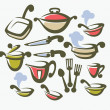 Vector collection of cooking equipment, dish and food symbols - Stock Vector