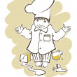 Image of little boy, who want to be a great chef — Stok Vektör