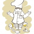 Image of little boy, who want to be a great chef — Stock Vector