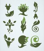 Vektor-ökologie-sammlung, verschiedene bio, bio und natur-sym — Stockvektor