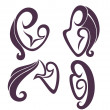 Mothers love and maternity, vector collection of signs, symbols, — Stock Vector