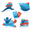 Vector collection of travel symbols, trip, vocation and transpor — Stock Vector