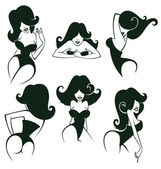 Large vector collection of cartoon pin up girls in different pos — Stock Vector