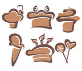 简单的矢量图像的蛋糕和糖果 — 图库矢量图片