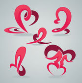 Vector collection of love symbols, hearts and kiss — Stock Vector