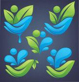 Vector neture e ecologia em suas mãos, coleção de folhas de uma — Vetor de Stock