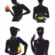 Handsome men and fruits in hands - Stock Vector