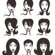 Vector collection of woman faces and hairstyles - Stock Vector