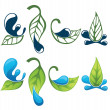 Stock Vector: Vector collection of leaf and water signs, symbols and silhouett