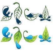 叶和水标志、 符号和 silhouett 的矢量集合 — 图库矢量图片