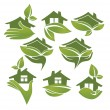 Royalty-Free Stock Obraz wektorowy: Green and ecologycal homes, vector signs and symbols