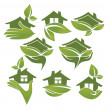 Royalty-Free Stock Imagen vectorial: Green and ecologycal homes, vector signs and symbols