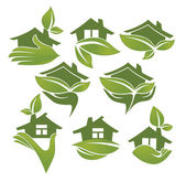 Green and ecologycal homes, vector signs and symbols — Stock Vector